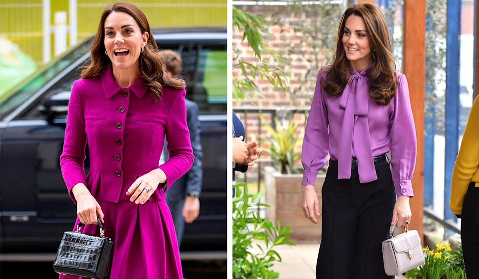 Kate carrying Aspinal of London bags in January 2019 at the Royal Opera House and while visiting Henry Fawcett Children's Centre in March 2019. [Photo: Getty]