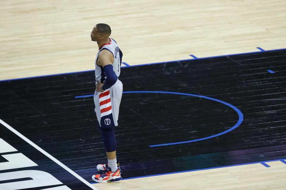 Washington Wizards star Russell Westbrook suffered an ankle injury in Game 2 of their first-round playoff series.  (Tim Nwachukwu/Getty Images)