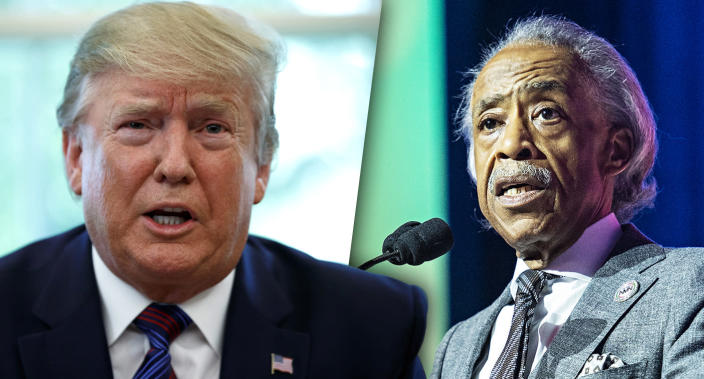 President Trump and the Rev. Al Sharpton. (Photo illustration: Yahoo News; photos: Carolyn Kaster/AP, Amy Harris/Invision/AP)