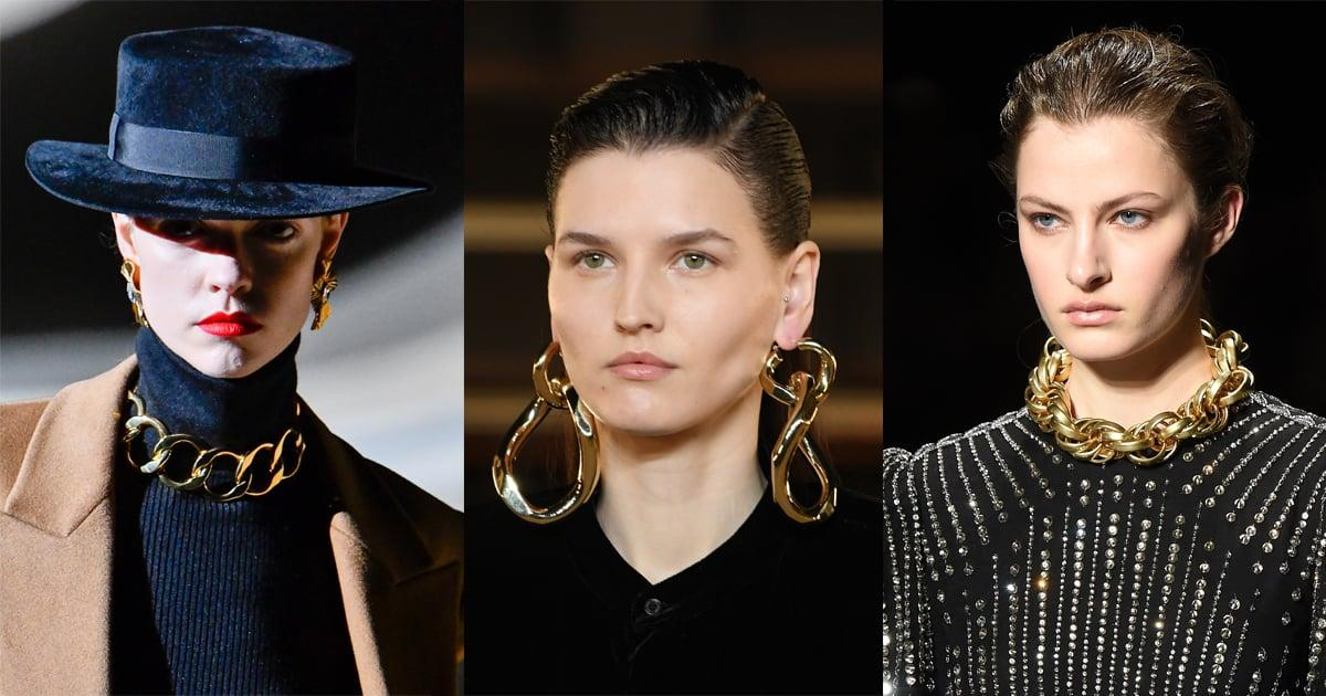 <p>Ever since Daniel Lee sent chunky chain links down the Bottega Veneta runway for the Fall/Winter 2019 season, the heavy-metal detail has gone viral, so to speak. Meaning? Chain links are literally everywhere, appearing on clothing, handbags, shoes, and, of course, in the form of jewelry for Fall/Winter 2020. With a polished spirit, golden chain links are the ticket for an edgy-meets-glamorous look, be it a necklace, bracelet, or pair of earrings.   </p> <p><em>From left: Saint Laurent Fall 2020, Balmain Fall 2020, Alberta Ferretti Fall 2020</em></p>
