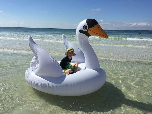 PHOTO: Tara Myers got her son Brennan, 7, an inflatable swan float that they used at the beach before drifting out to sea. (Courtesy Tara Myers)