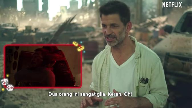 Zack Snyder menonton The Night Comes for Us. (tangkapan layar YouTube/  Netflix Indonesia)