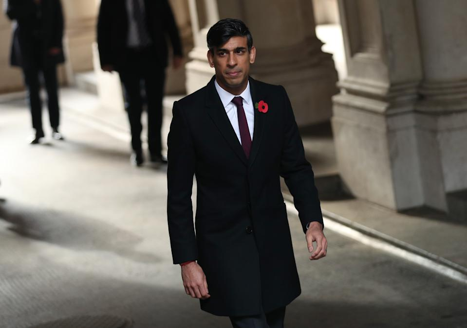 Chancellor of the Exchequer Rishi Sunak heads to Downing Street, following the Remembrance Sunday service at the Cenotaph, in Whitehall, London. (Photo by Yui Mok/PA Images via Getty Images)