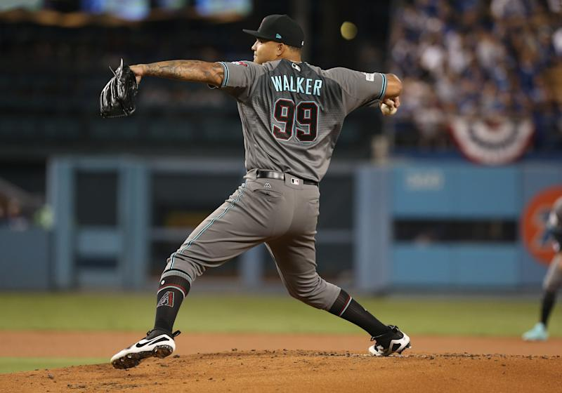 LOS ANGELES, CA - OCTOBER 06: Arizona Diamondbacks pitcher Taijaun Walker ( 99 ) throws a pitch during Game 1 of the NLDS against the Los Angeles Dodgers on October 06, 2017, at Dodger Stadium in Los Angeles, CA. (Photo by Adam Davis/Icon Sportswire via Getty Images)