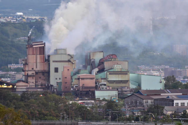 <p>Smoke billows from the facilities of Mitsubishi Steel Muroran Inc. during a fire following an earthquake in Muroran, Hokkaido, northern Japan, Thursday, September 6, 2018. A powerful earthquake rocked Japan's northernmost main island of Hokkaido early Thursday, triggering landslides that crushed homes, knocking out power across the island, and forcing a nuclear power plant to switch to a backup generator. (Hokkaido Shimbun/Kyodo News via AP) </p>