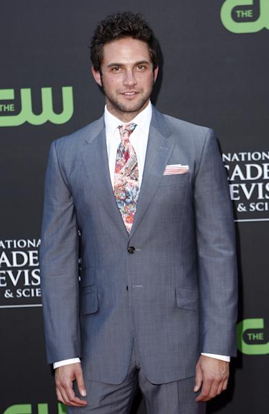 FILE - This Aug. 30, 2009 file photo shows actor Brandon Barash at the Daytime Emmy Awards in Los Angeles. Barash and his wife, actress Kirsten Storms are expecting their first child in January. (AP Photo/Matt Sayles, File)