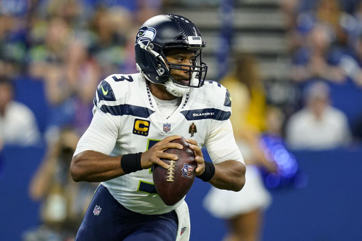 Seattle Seahawks quarterback Russell Wilson (3) throws against the Indianapolis Colts in the first half of an NFL football game in Indianapolis, Sunday, Sept. 12, 2021. (AP Photo/Charlie Neibergall)