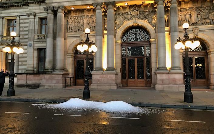 Ice sits outside the City Council's chambers - PA