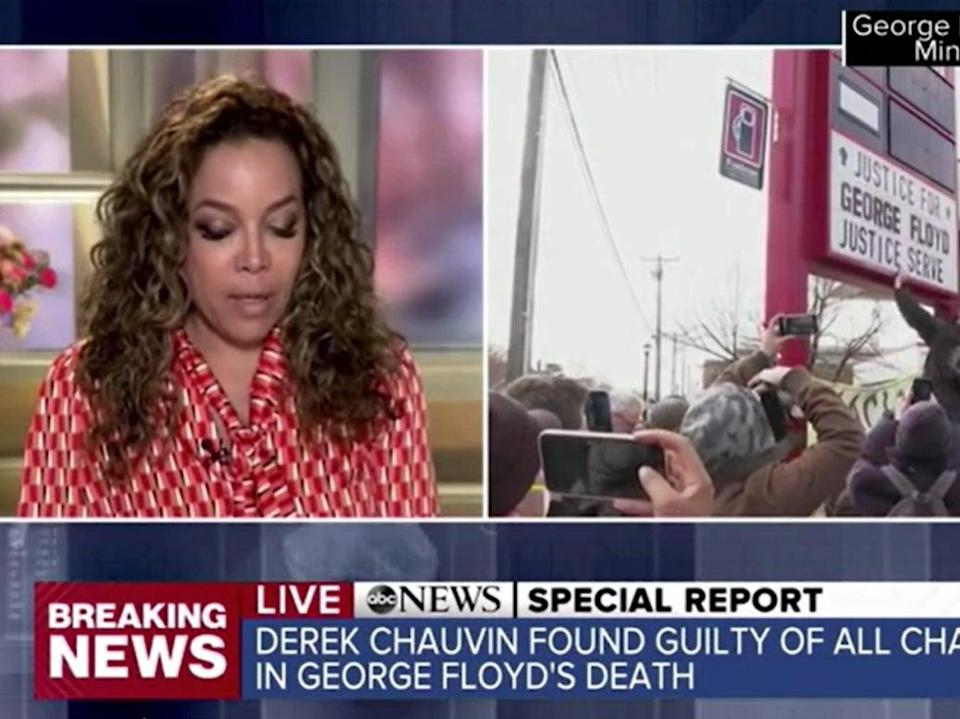 <p>The View's Sunny Hostin became emotional on air while reacting to the the verdict for former Minneapolis police officer Derek Chauvin</p> (Getty Images)