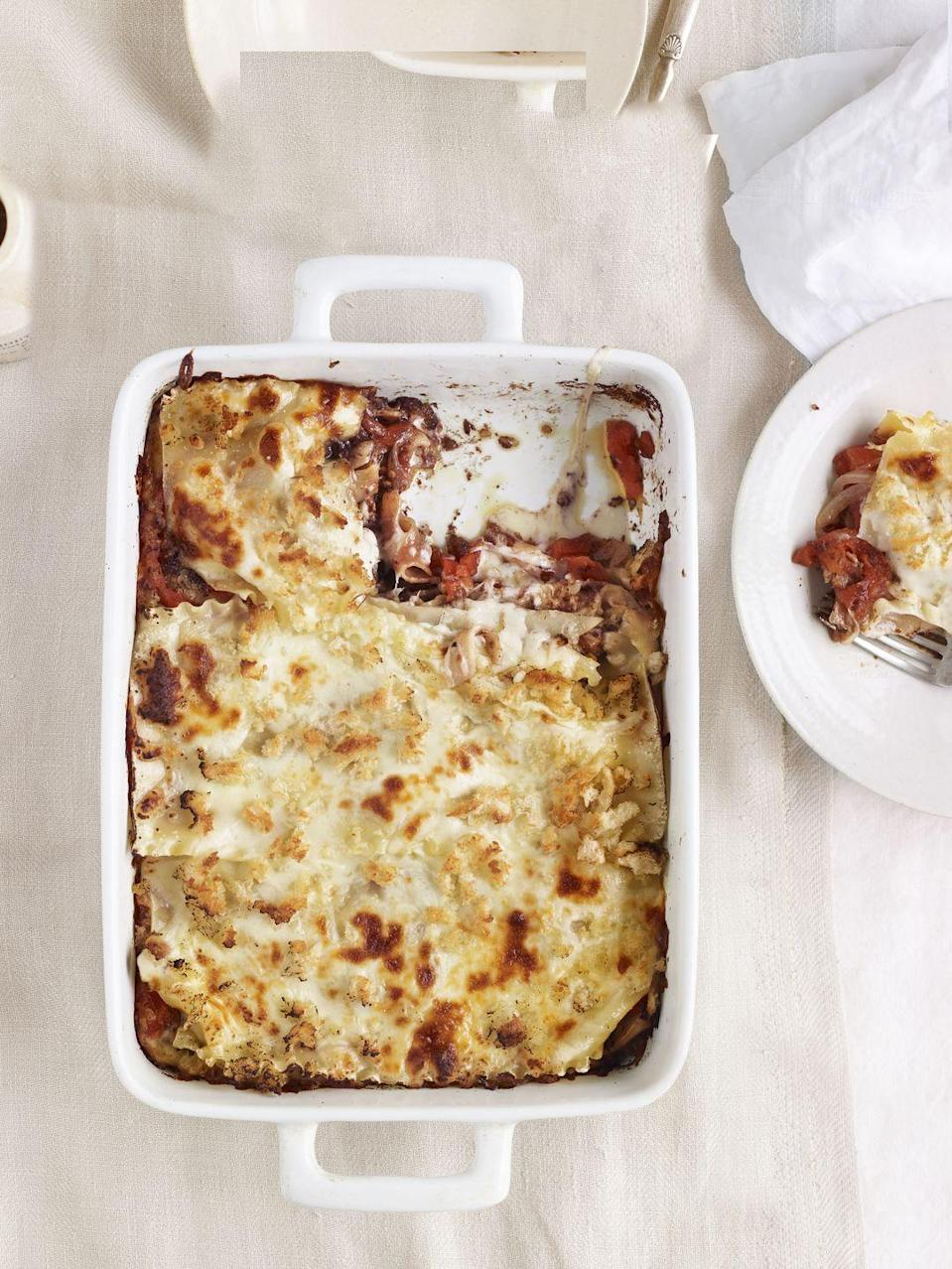 """<p>For a delectable twist, skip the sauce and instead tuck into thick-sliced tomatoes, plus caramelized onions, black-olive tapenade, and plenty of mozzarella</p><p><strong><a href=""""https://www.countryliving.com/food-drinks/recipes/a4179/fresh-tomato-lasagna-olive-tapenade-recipe-clv0512/"""" rel=""""nofollow noopener"""" target=""""_blank"""" data-ylk=""""slk:Get the recipe."""" class=""""link rapid-noclick-resp"""">Get the recipe.</a> </strong></p>"""