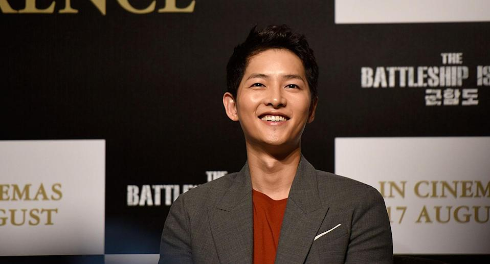 Song Joong-ki at The Battleship Island press conference in Singapore. (Photo: Yahoo Lifestyle Singapore/Bryan Huang)