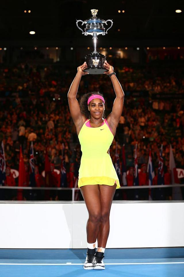 """<span class=""""element-image__caption"""">Serena Williams holds the trophy aloft after her win in Melbourne in 2015.</span> <span class=""""element-image__credit"""">Photograph: Clive Brunskill/Getty Images</span>"""