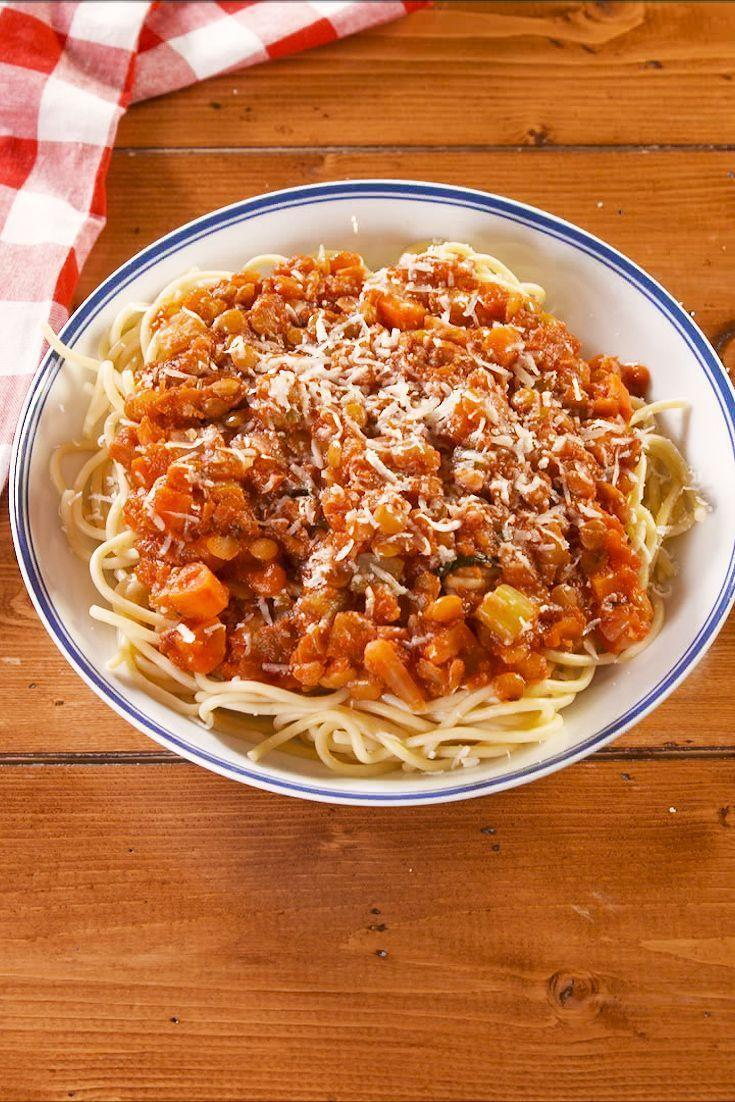 """<p>A <a href=""""https://www.delish.com/uk/cooking/recipes/a29755014/bolognese-sauce-recipe/"""" rel=""""nofollow noopener"""" target=""""_blank"""" data-ylk=""""slk:hearty bolognese"""" class=""""link rapid-noclick-resp"""">hearty bolognese</a> doesn't have to include any meat. This vegetarian bolognese is full of lentils that makes it every bit as filling. Serve it over your favourite pasta and enjoy a dinner worth dreaming of.</p><p>Get the <a href=""""https://www.delish.com/uk/cooking/recipes/a30193209/lentil-bolognese-recipe/"""" rel=""""nofollow noopener"""" target=""""_blank"""" data-ylk=""""slk:Lentil Bolognese"""" class=""""link rapid-noclick-resp"""">Lentil Bolognese</a> recipe.</p>"""