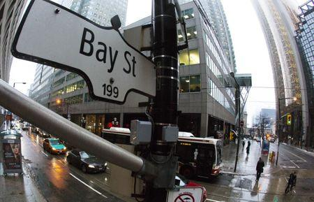 A Bay Street sign, the main street in the financial district is seen in Toronto