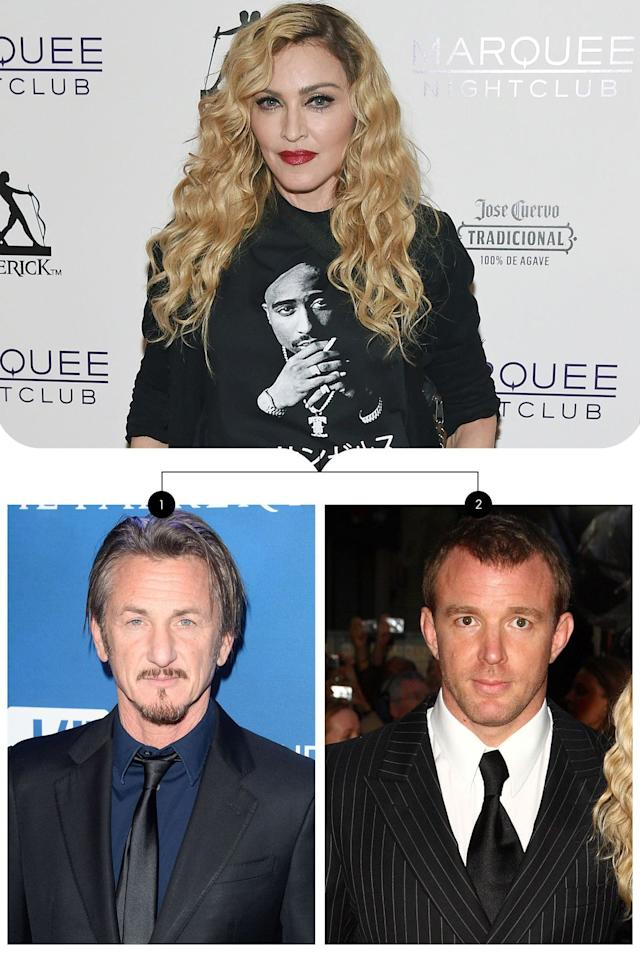 "<p>Madonna first tied the knot with Sean Penn (1) in 1985 when the two of them were both relatively new on the Hollywood scene. She even dedicated her third album,<em> True Blue,</em> to Penn the year that followed. Their romance only lasted about four years before the singer filed for divorce in 1989. More than a decade passed before Madonna said ""I do"" to English filmmaker, Guy Ritchie (2.) Their marriage lasted eight years before Madonna filed for divorce in 2008.</p>"