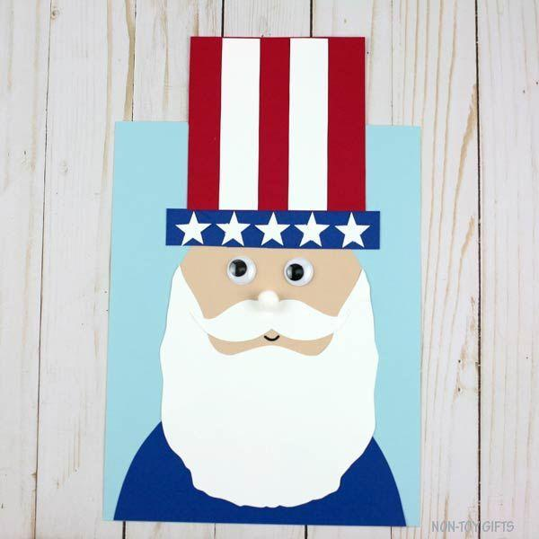 """<p>Teach your kids the history behind Uncle Sam as you put together this cute craft (which is made easy with the help of this paper template). </p><p><strong><em>Get the tutorial from <a href=""""https://nontoygifts.com/uncle-sam-craft/"""" rel=""""nofollow noopener"""" target=""""_blank"""" data-ylk=""""slk:Non-Toy Gifts"""" class=""""link rapid-noclick-resp"""">Non-Toy Gifts</a>. </em></strong></p>"""
