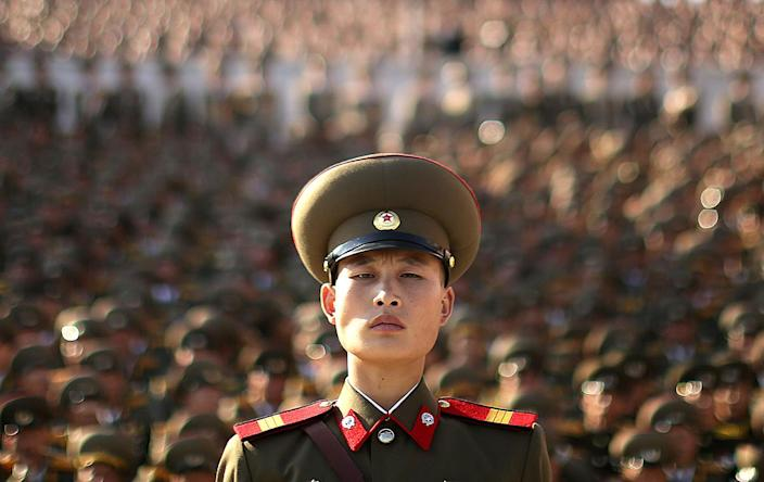 <p>A soldier watches a military parade which was held at the Kim Il Sung Square as part of celebrations to mark the 70th anniversary of the founding of the ruling Workers' Party in Pyongyang, North Korea, Saturday, Oct. 10, 2015. (Photo: Wong Maye-E/AP) </p>