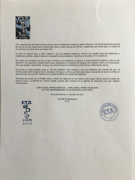 A scan of a letter addressed to the international community from the Basque separatist group ETA, dated April 7, 2017, says the group will disarm on April 8, 2017