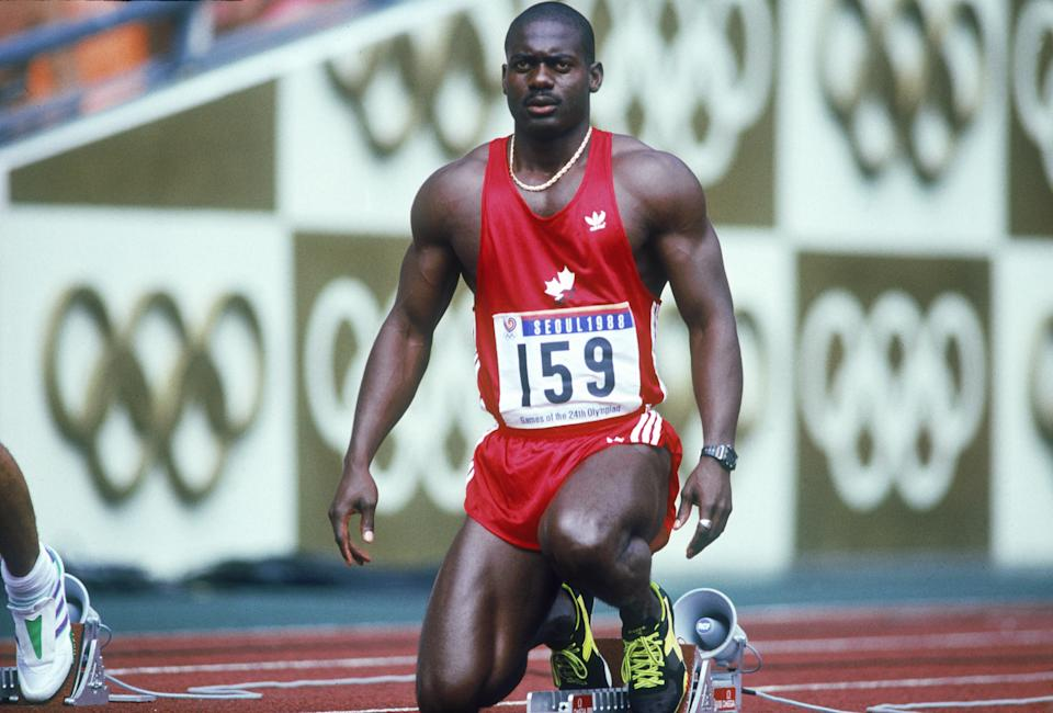 Canadian sprinter Ben Johnson at the start of the 100 Metres semi-final at Seoul Olympic Stadium during the Olympic Games in Seoul, South Korea, 24th September 1988. Johnson won the final in a world record time of 9.79 seconds, but was disqualified for doping. (Photo by Tony Duffy/Getty Images)