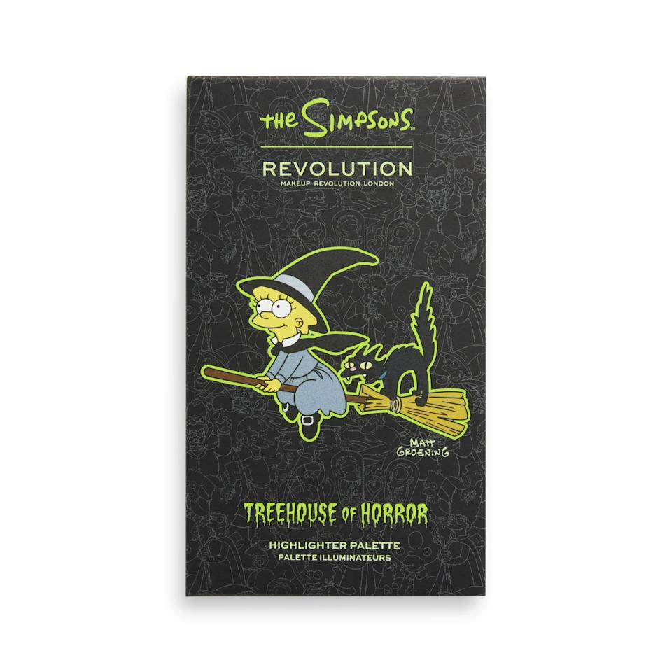 """<p><span>Makeup Revolution The Simpsons """"Witch Lisa"""" Mini Highlighter Palette</span> ($15)</p>"""