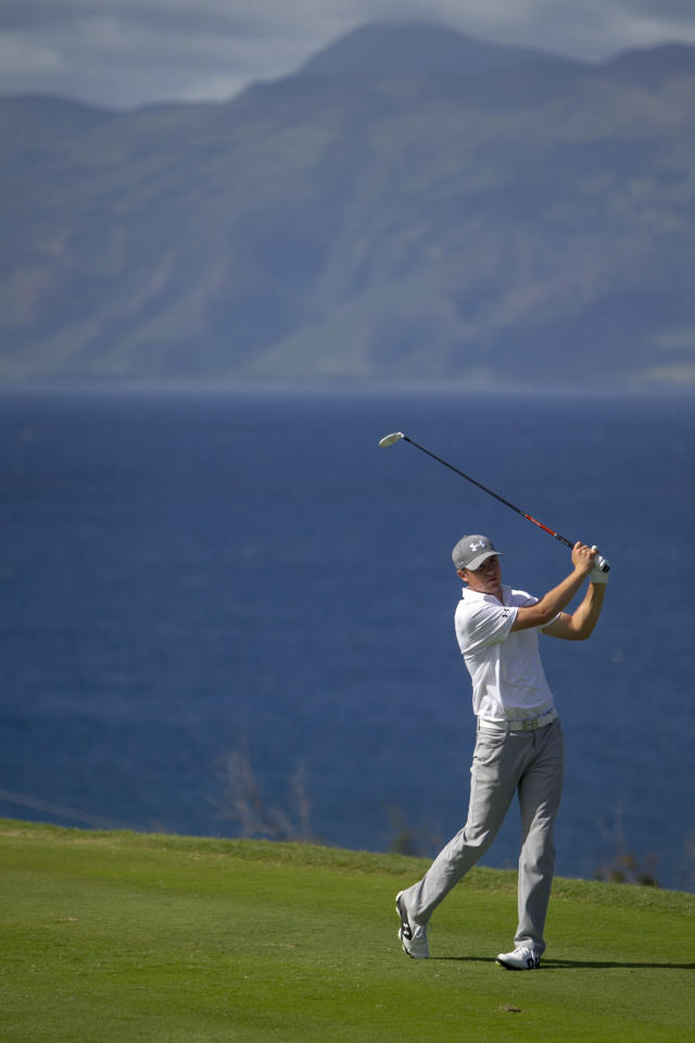 Jordan Spieth drives on the 13th green during the final round of the Tournament of Champions golf tournament, Monday, Jan. 6, 2014, in Kapalua, Hawaii. (AP Photo/Marco Garcia)