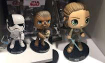 <p>Executioner class Stormtrooper, Chewbacca with Porg, and Rey Funko Bobble Heads (Yahoo Movies UK/Disney) </p>