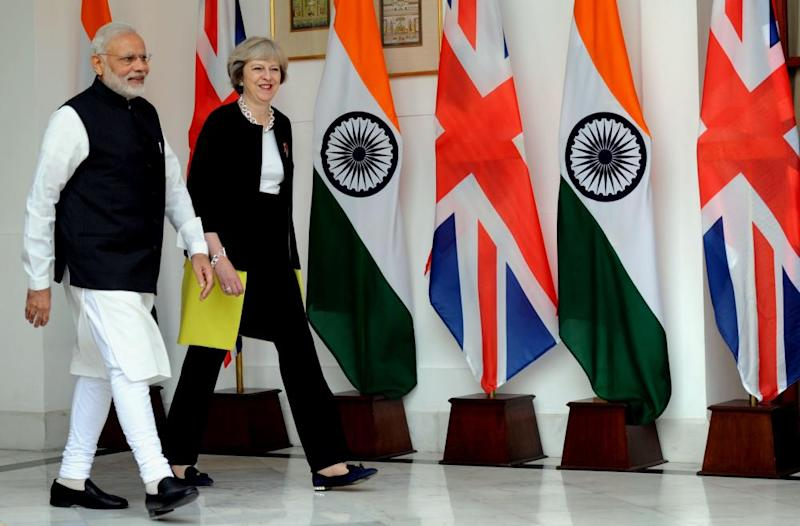 Theresa May with India's prime minister, Narendra Modi