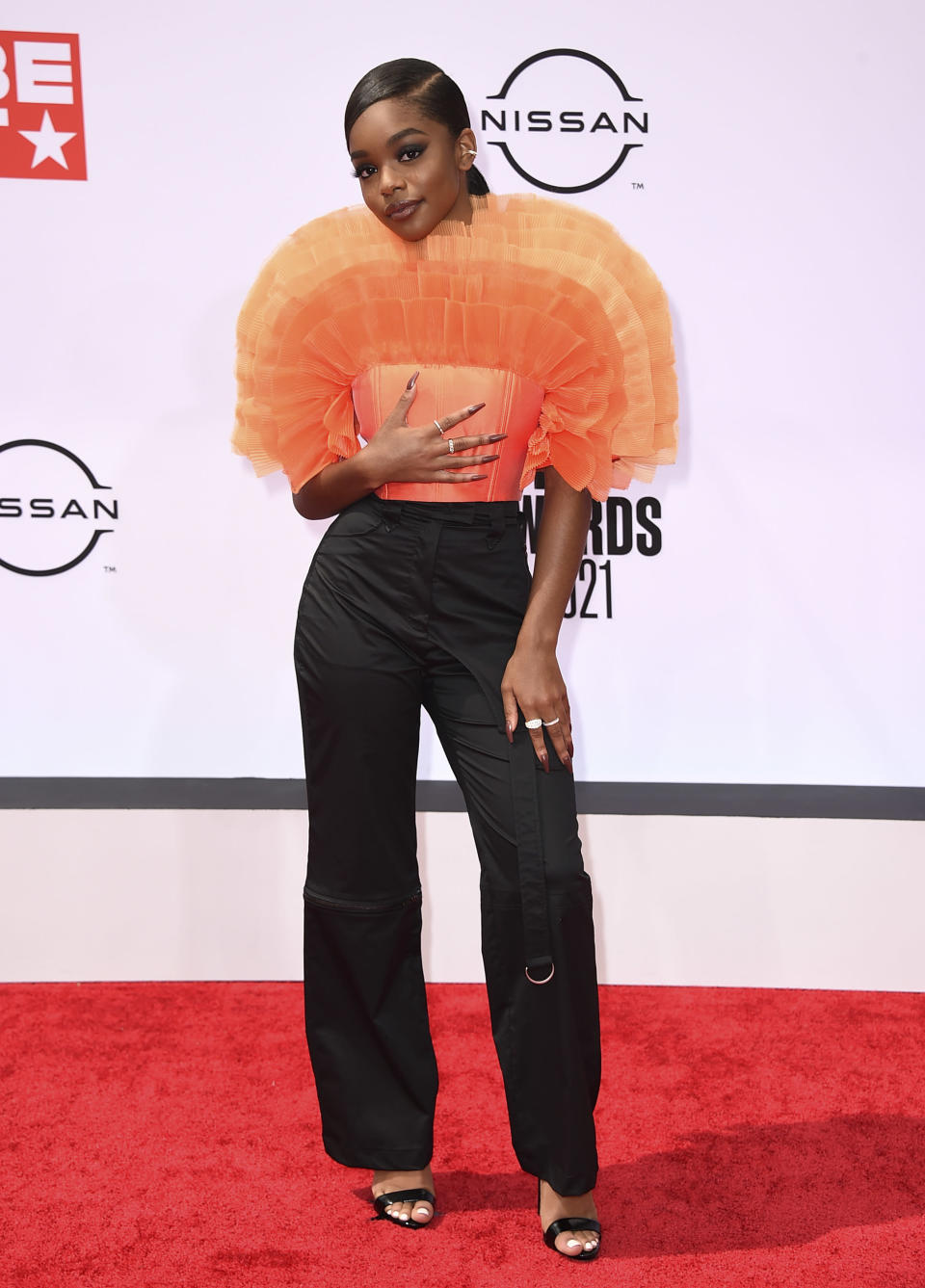 Marsai Martin arrives at the BET Awards on Sunday, June 27, 2021, at the Microsoft Theater in Los Angeles. (Photo by Jordan Strauss/Invision/AP)