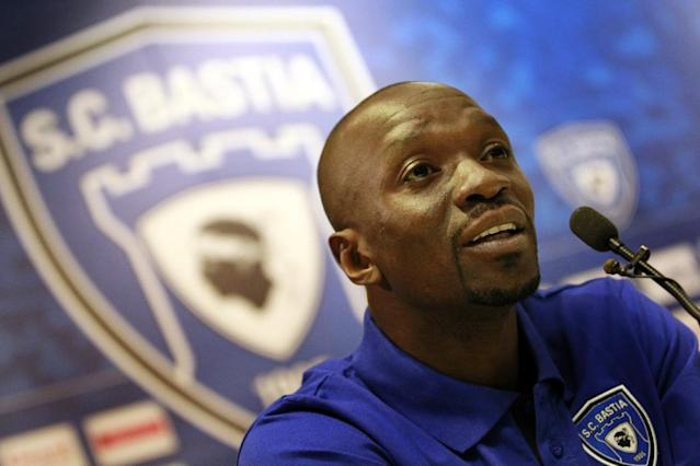 Bastia's recently recruited French head coach Claude Makelele answering journalists during a press conference in Bastia, France on May 27, 2014 (AFP Photo/Pascal Pochard Casabianca)