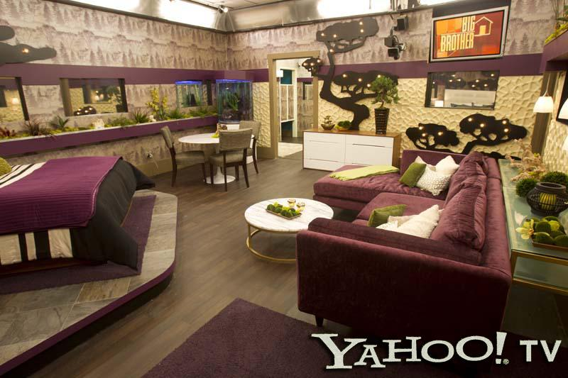 Here's another view of the HoH's living quarters. As you can see, purple is the dominant hue, with grays and whites used as complimentary colors. The fish tank makes a return appearance, as does the wall-mounted TV, which the Head of Household will use to spy on the other Houseguests.