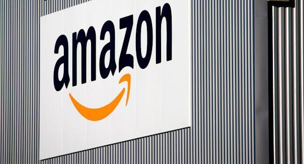France Amazon (The Amazon logo is seen on the new logistics center of online merchant Amazon in Lauwin-Planque, northern France,