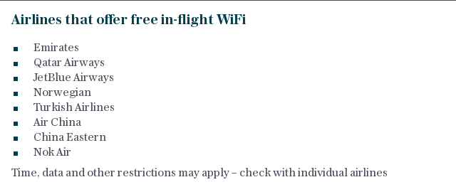 Airlines that offer free in-flight Wi-Fi