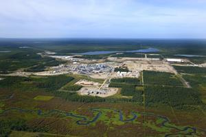 View of a Cenovus steam-assisted gravity drainage oil sands project in northern Alberta.