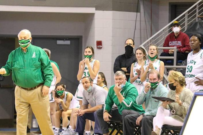 As Bishop England closes in on Keenan, reactions on the bench get intense during the 3A state championship game at the USC Aiken Convocation Center on Friday, March 5, 2021.