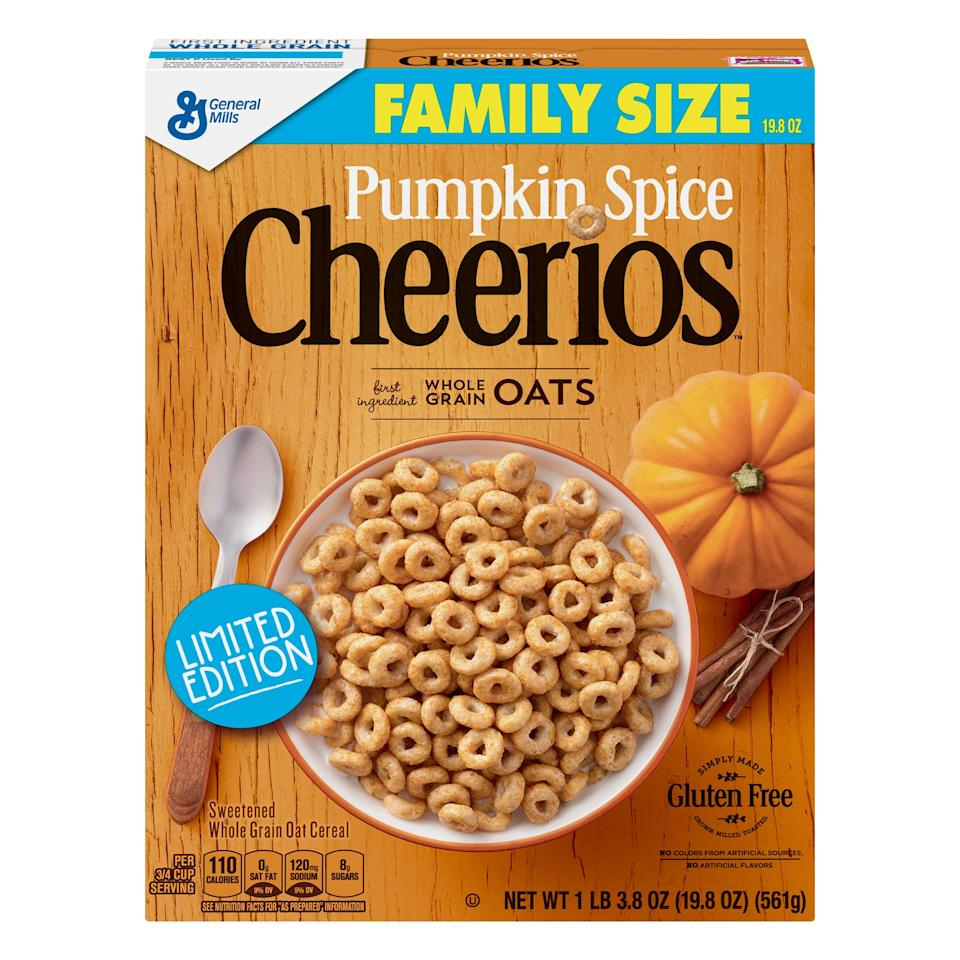 "<p>Made from pumpkin puree and a delicious blend of cinnamon, nutmeg, and clove, these <a href=""https://www.popsugar.com/buy/Pumpkin-Spice-Cheerios-489273?p_name=Pumpkin%20Spice%20Cheerios&retailer=walmart.com&pid=489273&evar1=yum%3Aus&evar9=46598621&evar98=https%3A%2F%2Fwww.popsugar.com%2Ffood%2Fphoto-gallery%2F46598621%2Fimage%2F46598622%2FGeneral-Mills-Pumpkin-Spice-Cheerios&list1=fall%2Ccereal%2Cpumpkin%20spice&prop13=mobile&pdata=1"" rel=""nofollow"" data-shoppable-link=""1"" target=""_blank"" class=""ga-track"" data-ga-category=""Related"" data-ga-label=""http://www.walmart.com/ip/Pumpkin-Spice-Cheerios-Gluten-Free-Cereal-with-Oats-19-8oz-Box/429323977"" data-ga-action=""In-Line Links"">Pumpkin Spice Cheerios</a> boast a Fall twist on a classic cereal. Are you gluten-free? No problem. So are these.</p>"