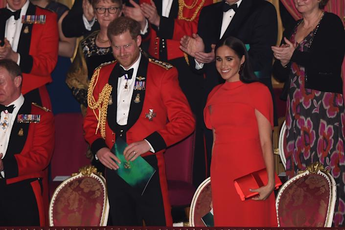 LONDON, ENGLAND - MARCH 07: Prince Harry, Duke of Sussex and Meghan, Duchess of Sussex attend the Mountbatten Music Festival at the Royal Albert Hall on March 7, 2020 in London, England. (Photo by Eddie Mulholland-WPA Pool/Getty Images)