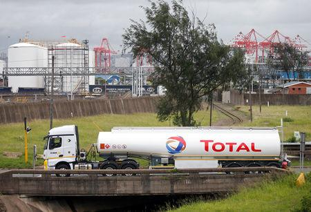 The logo of French oil and gas company Total is seen on a truck transporting fuel in Durban, South Africa February 7, 2019. REUTERS/Rogan Ward