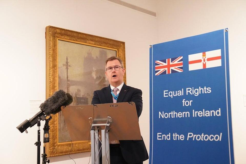 DUP leader Sir Jeffrey Donaldson announced last month that his party would disengage with the north-south meetings (Stefan Rousseau/PA) (PA Wire)