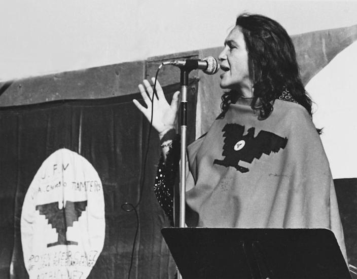 American labor activist and co-founder of the United Farm Workers of America Dolores Huerta speaks on stage during a UFW rally in the mid-1970s in California. Huerta endorsed the state's new model curriculum in ethnic studies. (Cathy Murphy/Getty Images)
