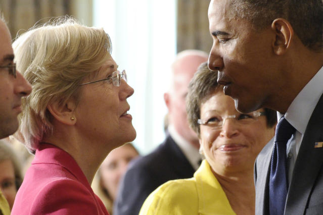 In this July 17, 2013 photo, Sen. Elizabeth Warre talks with President Barack Obama following a statement with Richard Cordray, the director of the Consumer Financial Protection Bureau (AP Photo/Susan Walsh, File)