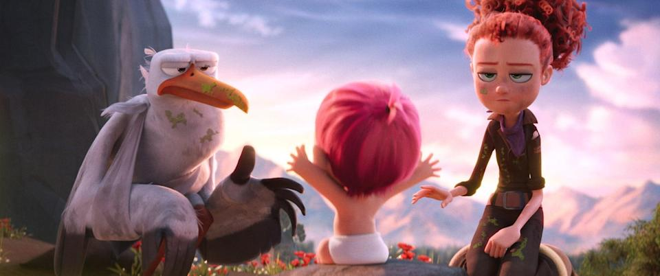 """<p><strong>HBO Max's Description:</strong> """"<b>Storks</b> delivers big laughs in this riotous comedy that finds the gangly birds out of the baby business and into package delivery. When top delivery stork Junior accidentally turns on their old baby-making device, he produces a beautiful, bouncing baby girl...and a whole lot of trouble for himself and his human pal, Tulip.""""</p> <p><a href=""""https://play.hbomax.com/feature/urn:hbo:feature:GWN0w9A0ycMMMcgEAAAH0"""" class=""""link rapid-noclick-resp"""" rel=""""nofollow noopener"""" target=""""_blank"""" data-ylk=""""slk:Watch Storks on HBO Max here!"""">Watch <strong>Storks</strong> on HBO Max here!</a></p>"""