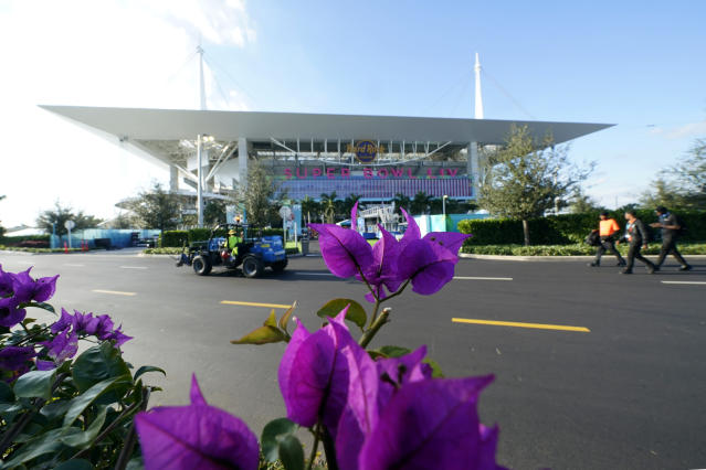 Hard Rock Stadium is shown Thursday, Jan. 30, 2020, in Miami Gardens, Fla., in preparation for the NFL Super Bowl 54 football game. (AP Photo/David J. Phillip)