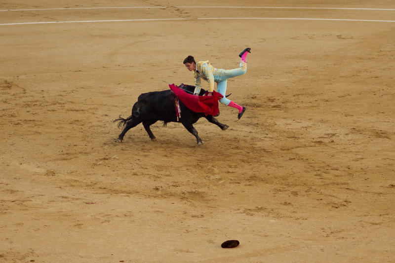 Spanish bullfighter David Galan is tossed by a Jose Escolar's ranch fighting bull during a bullfight of the San Isidro fair at Las Ventas bullring in Madrid, Monday, May 13, 2013. For a month bullfights take place every afternoon in what has been recognized as one of the most important bullfighting fairs in the world. Bullfighting is an ancient tradition in Spain and the season runs from March to October. (AP Photo/Daniel Ochoa de Olza)