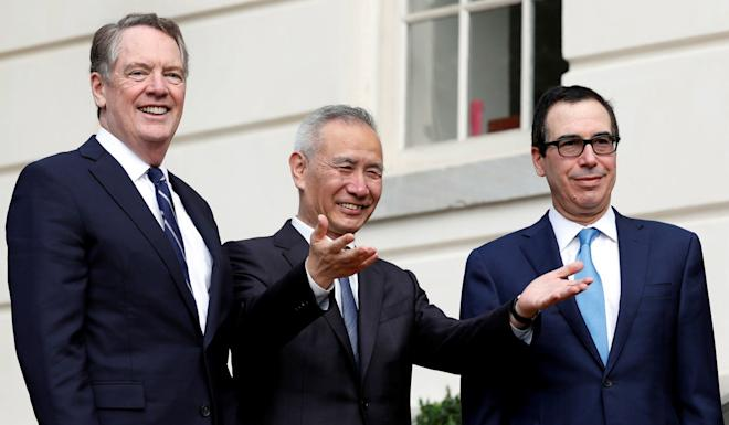 """Liu He (centre), Robert Lighthizer (left) and Steve Mnuchin (right) held """"candid, efficient and constructive"""" discussions, according to Xinhua. Photo: Reuters"""