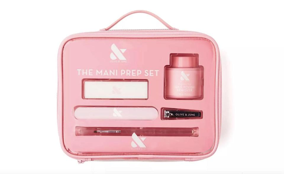 <p>The <span>Olive &amp; June Nail Grooming Set - The Mani Prep Set - 6pc</span> ($20) has got all your mani and pedi needs covered for spring.</p>