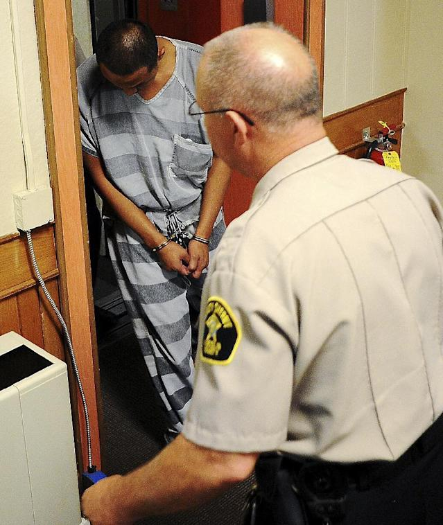 FILE - In this Oct. 11, 2013 file photo, Joseph Patterson, who is charged with aggravated assault and aggravated battery on an infant, leaves the Lincoln County Courthouse after a hearing in Canton, S.D. Prosecutors expect to ask a grand jury to consider more serious charges against Patterson in the death of the 2-year-old son of Minnesota Vikings running back Adrian Peterson. Lincoln County State's Attorney Tom Wollman says he will review the completed autopsy report along with other reports before seeking any new charges against Patterson. Sioux Falls police identified the boy as Tyrese Robert Doohen, who died Friday, Oct. 11, 2013 after being hospitalized with severe head injuries. (AP Photo/Argus Leader, Joe Ahlquist)