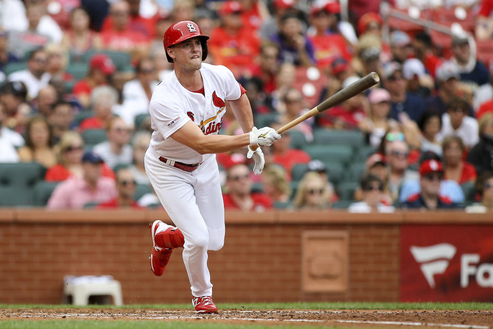 St. Louis Cardinals' Lane Thomas follows through on an RBI-triple during the fourth inning of a baseball game against the Pittsburgh Pirates, Sunday, Aug. 11, 2019, in St. Louis. (AP Photo/Scott Kane)