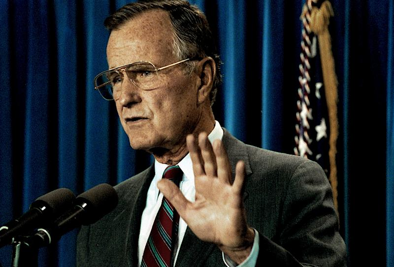 President George H.W. Bush insisted on a delay in loan guarantees to Israel until after a multilateral peace summit in Madrid, Spain, in October 1991. (Photo: Mark Reinstein/MediaPunch/IPx)