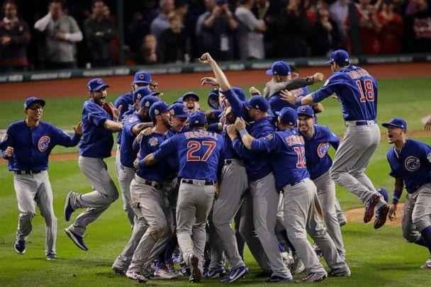 PHOTO: In this Nov. 3, 2016, file photo, the Chicago Cubs celebrate after Game 7 of the Major League Baseball World Series against the Cleveland Indians, in Cleveland. (Charlie Riedel/AP, File)
