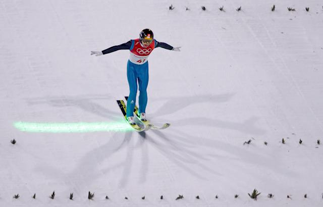 Ski Jumping - Pyeongchang 2018 Winter Olympics - Men's Large Hill Individual Qualifications - Alpensia Ski Jumping Centre - Pyeongchang, South Korea - February 16, 2018 - Simon Ammann of Switzerland competes. REUTERS/Dominic Ebenbichler TPX IMAGES OF THE DAY